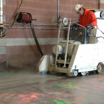 Concrete flat slab sawing - openings - trenches - control joints - laying pipes - wiring underground RI Boston MA